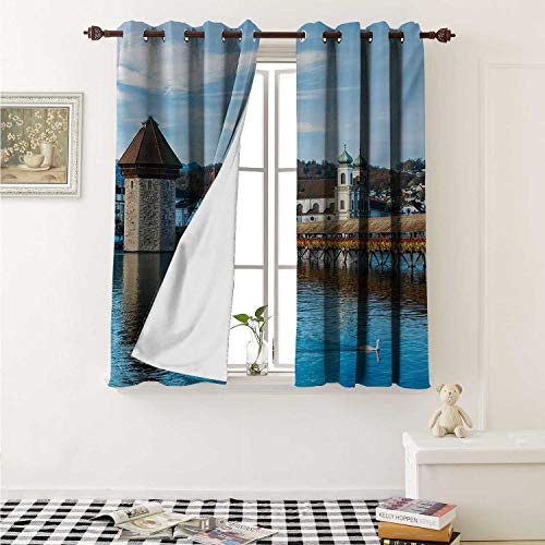 shenglv Landscape Waterproof Window Curtain Panoramic View of Oak Chapel Bridge Northern Lands Lake European Aged City Print Curtains for Party Decoration W84 x L72 Inch Blue Brown]()