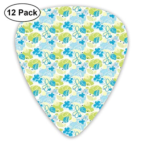 Guitar Picks - Abstract Art Colorful Designs,Pastel Colored Cheerful Pattern Inspired By Spring Nature Whimsical Doodle,Unique Guitar Gift,For Bass Electric & Acoustic Guitars-12 Pack