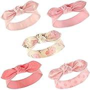 Hudson Baby Girls' Headband, 5 Pack, Boho Flower, 0-24 Months