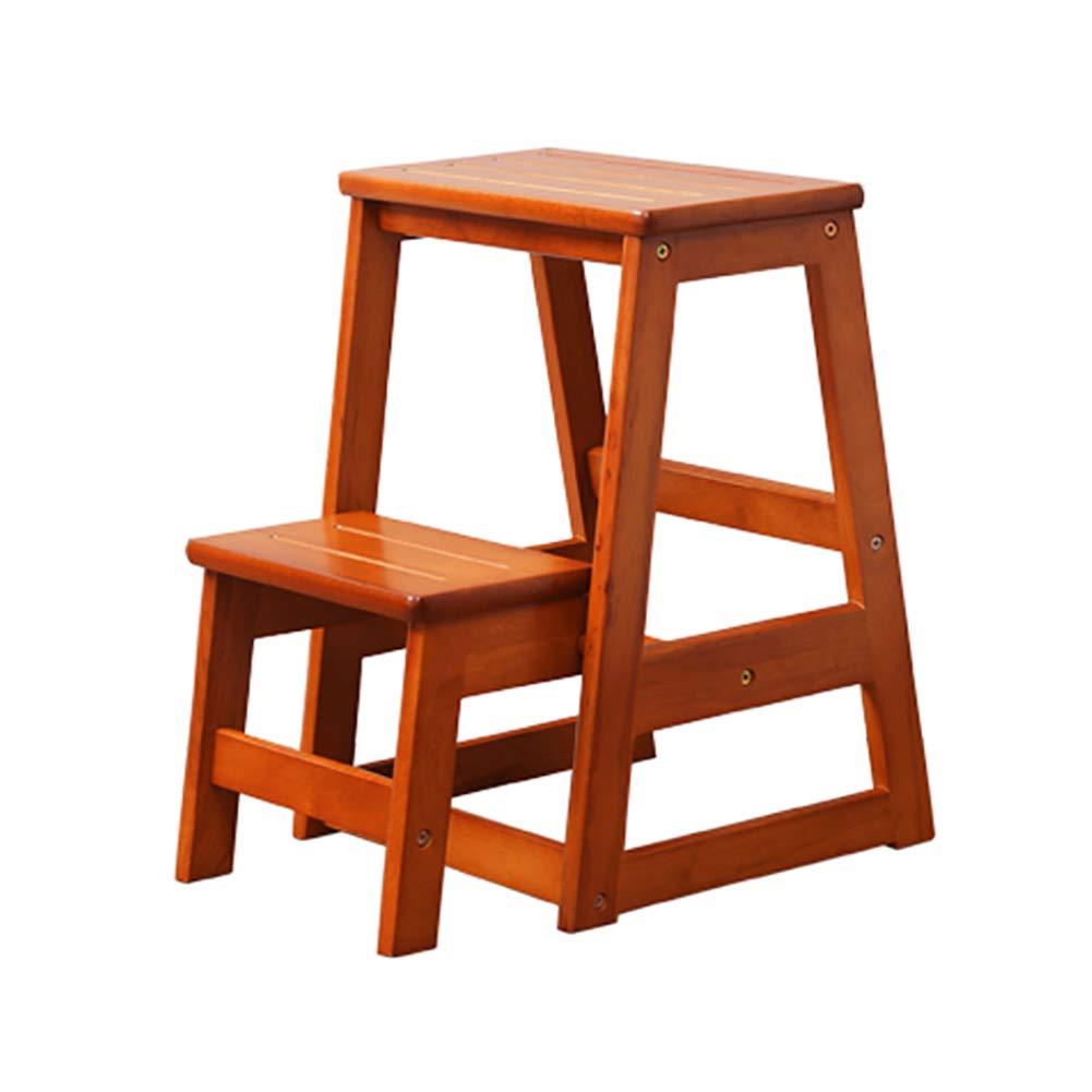 家庭用木製折りたたみ式2ステップラダーソリッドウッド2段階段スツール2段ラダースツール、ハニーカラー/ウォールナットカラー (色 : Honey color) B07JKN8VH9 Honey color