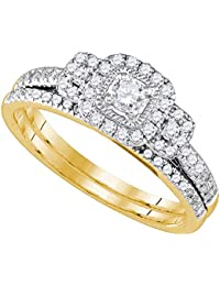14k Yellow Gold Square Halo Diamond Engagement Ring & Wedding Band Set Bridal Set Fancy 1/2 ctw