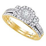 14k Yellow Gold Square Halo Diamond Engagement Ring & Wedding Band Set Bridal Set Fancy 1/2 ctw