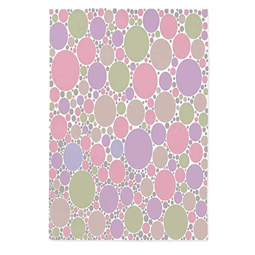 Pastel Printed Tablecloth,Soft Large Small Geometric Circle Oval Polka Dots Retro Style Feminine Decorative for Rectangle Table Kitchen Dinning Party,60''W X 84''L