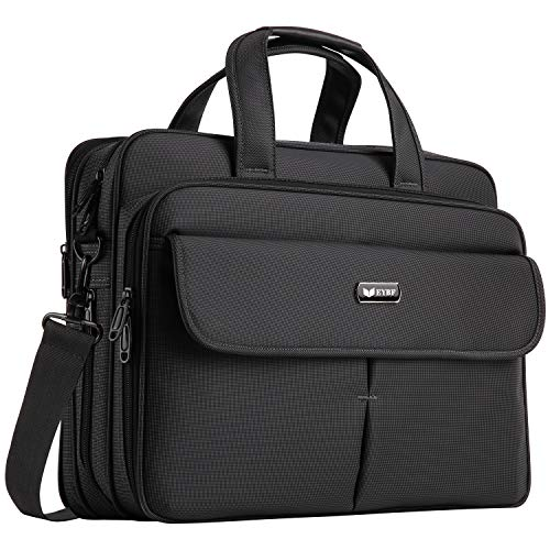 EYBF Laptop Bag 15.6 inch Expandable Laptop & Tablets Briefcase Business Travel Handbag for Men Women,Water Resistant Lightweight Messenger Shoulder Bag Computer Case with Organizer, Black