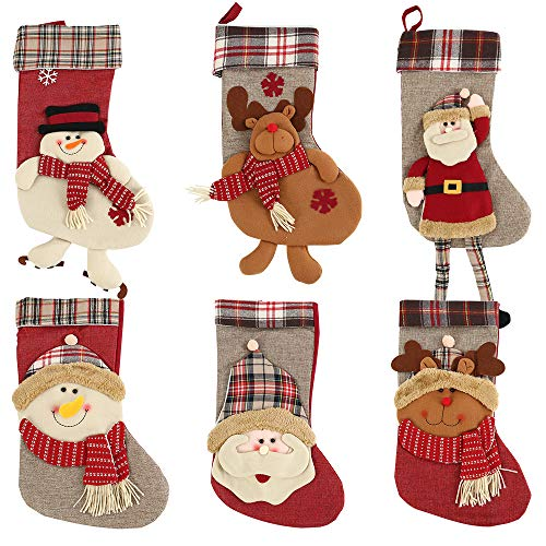 "Cherry Juilt 21"" Christmas Stockings Plush Christmas Decoration Mantel Christmas Stocking Santa Snowman Reindeer Xmas Party Home Decor (Set of 6, 1pc) ()"