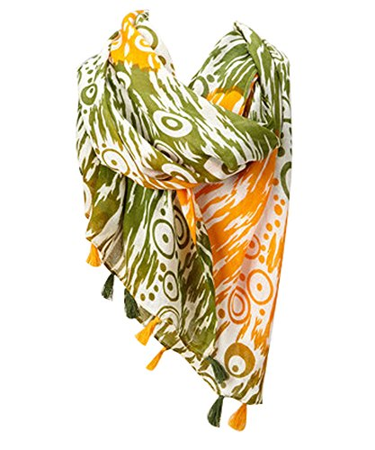 Amtal Fashion Floral Abstract Design Lightweight Spring Summer Scarfs for Women (Green Abstract)