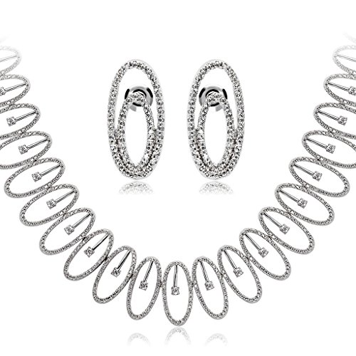 AmDxD Jewelry Sets Silver Plated Women Necklace and Earrings White Gold Oval Cut Littele CZ by AMDXD