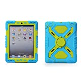 Pepkoo iPad mini Silicone Plastic Protective Dual Layer Shock Absorbing Kid- Proof shockproof Case Built in Stand Designed for the Apple iPad mini / iPad mini 2 (Blue/Green)