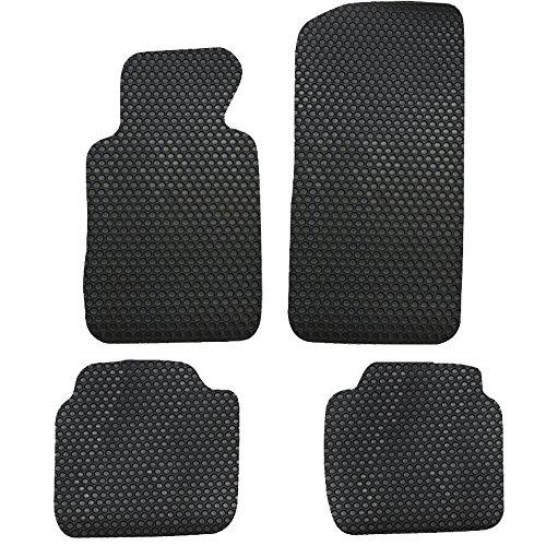 Floor Mat Fits 1999-2005 BMW E46 3-Series | Front & Rear Latex Black 4PC Car Floor Carpets Carpet liner by IKON MOTORSPORTS | 2000 2001 2002 2003 (Bmw 2002 2 Door Carpet)