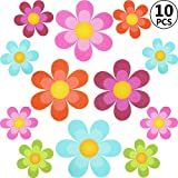 10 Pieces Non Slip Bathtub Stickers Adhesive Decals with Bright Colors, Daisy Bath Treads and Anti-Slip Appliques for Bath Tub, Stairs, Shower Room and Other Slippery Surfaces, Multi-Color Flowers