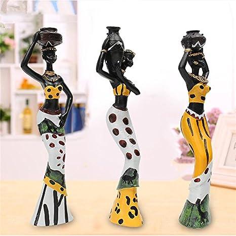 Decoraci/ón Hogar Regalos Originales 11 x 10 x 18 cm. Figura Decorativa de Resina Mujer Africana Sentada con Jarr/ón Adornos y Esculturas