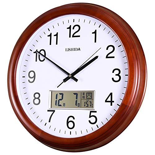 LISHIDA Calendario perpetuo Reloj de Pared Madera Maciza Sin tictac Reloj de Pared Reloj de Pared Mudo Números Romanos Reloj...
