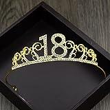 Miss.AJ Crown Headband Sweet 18 Birthday Tiara Rhinestone Crystal Crown for 18th Birthday Gift Party Accessories