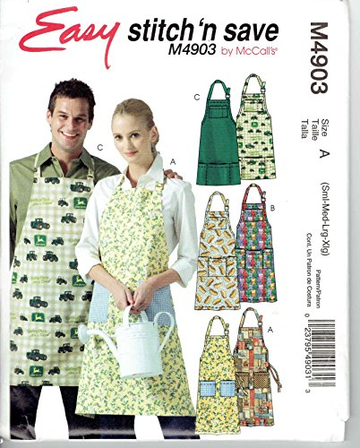 (McCall's Patterns M4903. Easy stitch 'n save Womens & Mens Aprons, Size A (Small, Medium, Large, Extra Large))