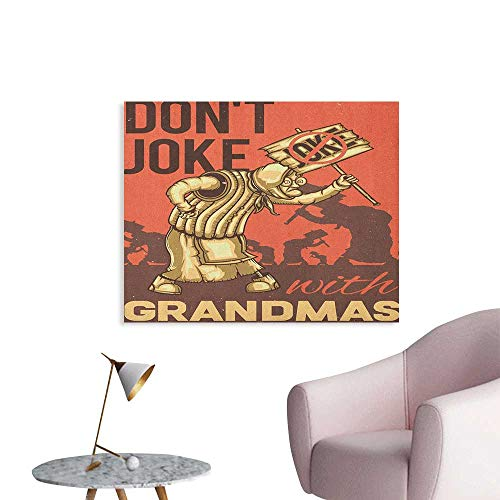 Anzhutwelve Grandma Photographic Wallpaper Dont Joke with Grandmas Quote Cartoon Protesting Elderly Woman Art Poster Coral Dark Taupe Pale Yellow W36 xL32