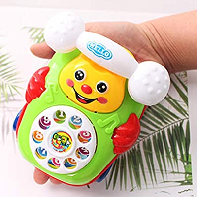 AGAWA Cartoon Smile Pull Wire Phone Baby Toy Educational Developmental Kids Gift Game: Office Products