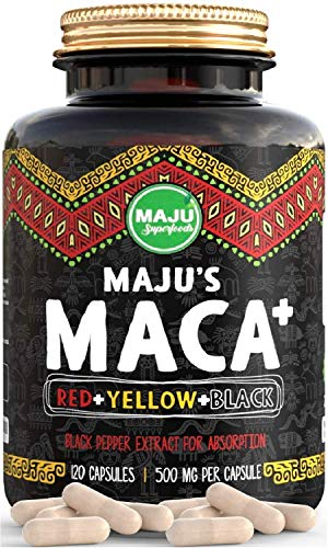 Strongest Maca Capsules, Organic Red, Yellow & Black Root w/Black Pepper Extract for Absorption, Roots Grown in Peru, Peruvian Powder, Men & Women Supplement (120 ct)