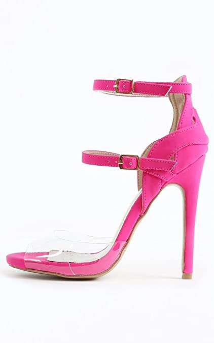 2cdf8d3fceff Image Unavailable. Image not available for. Color  Womens Qupid Glee-91 Open  Toe Transparent Strappy Heels NEON Pink 8