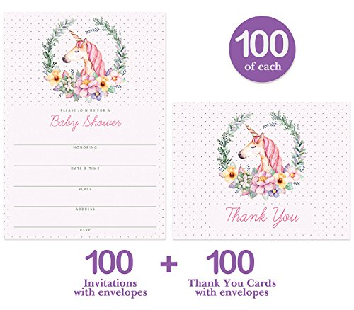 Unicorn Baby Shower Invitations Matching Thank You Cards Set 100