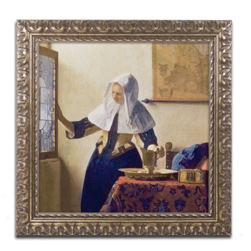 Young Woman with a Water Jug Canvas Art by Jan Vermeer, 11 by 11-Inch, Gold Ornate Frame