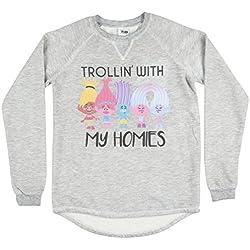 Trolls Trollin With My Homies Womens Pullover in Heather Grey