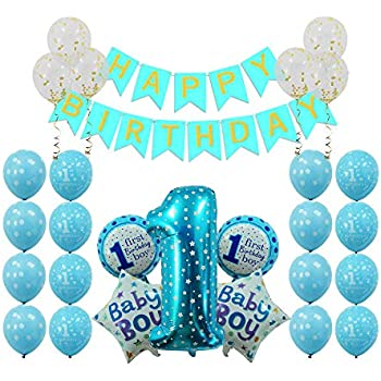 1st Birthday Boy Decorations Party Supplies Navy Blue
