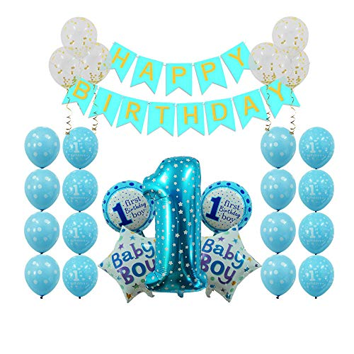 1st Birthday Boy Decorations Party Supplies Navy Blue - First Birthday Gifts, Happy Birthday Banner, Number Balloons (1st Birthday Boy)
