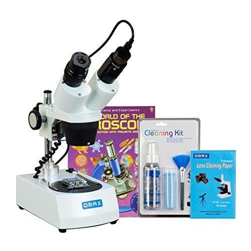 OMAX-20X-40X-80X-Cordless-Binocular-Stereo-Microscope-Dual-LED-Lights5MP-CameraCleaning-PackBook