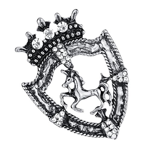 en Crown Metal Pin Brooch Crystal Unicorn Racing Badge Brooch - Antique Silver ()