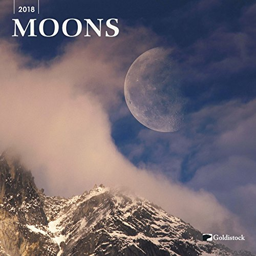 "Goldistock ""Moons"" Eco-friendly 2018 Large Wall Calendar - 12"" x 24"" (Open) - Thick & Sturdy Paper - Breathtaking Images of the Moon"