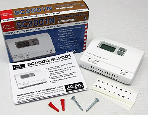 Cool Wall Thermostat (ICM Smimple Comfort Non Programmable Wall Thermostat SC2001N Heat/Cool Heat Pump)