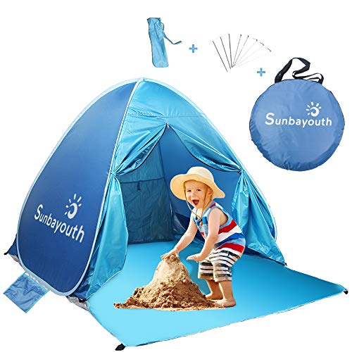 SUNBA YOUTH Beach Tent, Anti UV Beach Shade, Instant Portable Tent Sun Shelter, Pop Up Baby Beach Tent, for 2-3 Person (Blue)