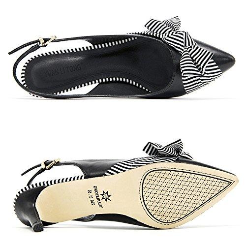 Vestir Mujeres Corbata Bajo Fiesta Medio Tacones Moño Punta Talón De Corte Slingback Puntiaguda Sexy Zapatos Black 11PSxHw