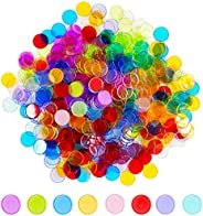 Hebayy 250 Transparent 8 Color Clear Bingo Counting Chip Plastic Markers (Each Measures 3/4 inch in Diameter)
