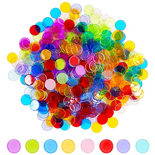 - Hebayy 500 Transparent 8 Color Clear Bingo Counting Chip Plastic Markers (Each Measures 3/4 inch in Diameter)