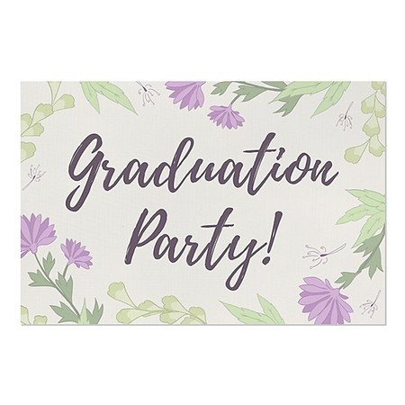 CGSignLab | ''Graduation Party -Rustic Girl'' Repositionable Opaque White 1st Surface Static-Cling Non-Adhesive Window Decal (5-Pack) | 36''x24'' by CGSignLab