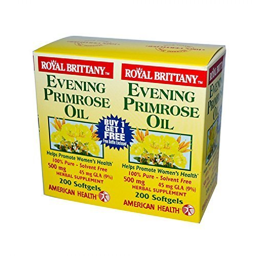 Royal Brittany Evening Primrose Oil (American Health - Evening Primrose Oil - Royal Brittany - 500 mg - 2/200 caps, 2 pack by AMERICAN HEALTH)