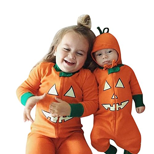 Infant And Toddler Matching Outfits (Sunbona Toddler Baby Brother Sister Matching Pumpkin Devil Print Long Sleeve Romper Jumpsuit+T shirt Tops Pants Halloween Outfits Set (Little babay(0~6months), Orange))