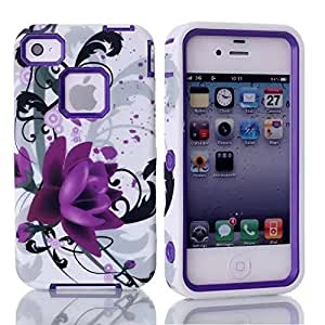 iPhone 4 Case,iPhone 4S Case,iPhone 4 Cover Case,Ezydigital iPhone 4 Case, Lotus Pattern Hard Soft High Impact Hybrid Armor Case Cover for iPhone 4 4S (Lotus Purple )