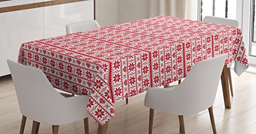 Christmas Tablecloth by Ambesonne, Scandinavian Tradition Fashion Nordic Borders Geometrical Pixel Retro Style, Dining Room Kitchen Rectangular Table Cover, 60 W X 90 L Inches, Orange (Scandinavian Christmas Traditions)