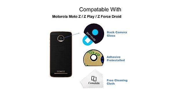 Cemobile Back - Lente de cristal para cámara de fotos trasera con adhesivo para Motorola Moto Z/ZPlay / Z® Force Droid: Amazon.es: Electrónica