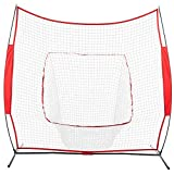 Pro-G 7'x7' Base Steel Increased Thickness Baseball Softball Practice Hitting Batting Training Net Bow Frame Bag Red