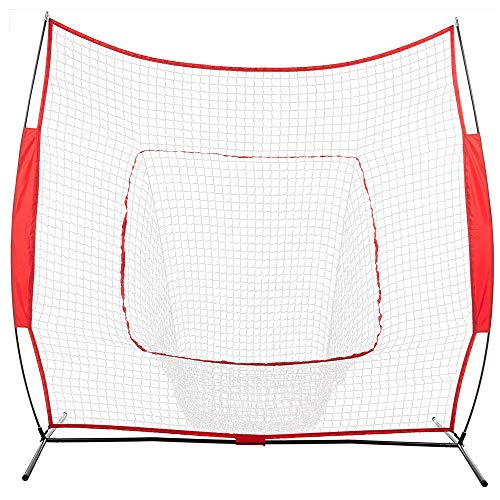Pro-G 7'x7' Base Steel Increased Thickness Baseball Softball Practice Hitting Batting Training Net Bow Frame Bag Red by Pro-G