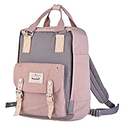 "Himawari Backpack/Waterproof Backpack 14.9"" College Vintage Travel Bag for Women,13inch Laptop for Student (pink&Gray)"