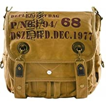 Canvas Military Vintage Style Army Shoulder Messenger Bag Quality Made Classic Distressed Travell Well Canvas Bags - Khaki Tan