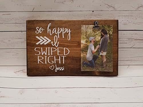 Amazon So Happy I Swiped Right Photo Board Wood Picture Frame