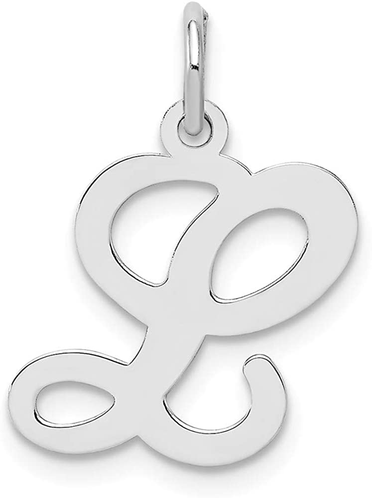 925 Sterling Silver Stamped Initial L Charm and Pendant