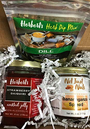 Gourmet Sampler - Strawberry Daiquai Jelly, Dill Herb Dip Mix, and Bananaganza Peanut Butter Spread