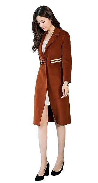 YueLian Mujer de Abrigo de Invierno de Simple Lana Hebilla de Palabra con Rayas Diseño(