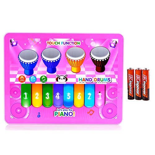 Kids Music Keyboard Piano Toy Music Phrases and Fun Sounds Pink (Tutorial Guitar Songs Christmas On)